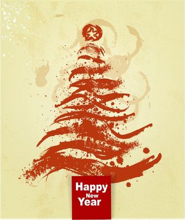 vieze handen: Kerstboom grunge achtergrond Stock Illustratie