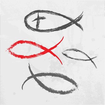 pez cristiano: Religión cristiana peces símbolo creado Vectores