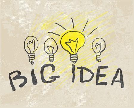 pensamiento creativo: Innovadora l�mpara. Gran idea Vectores