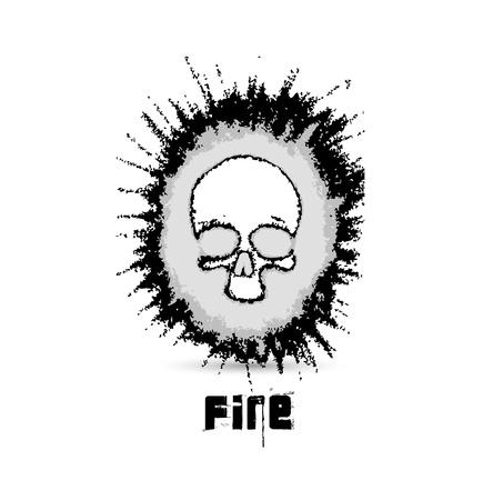 fire skull: Burn skull flame fire Illustration
