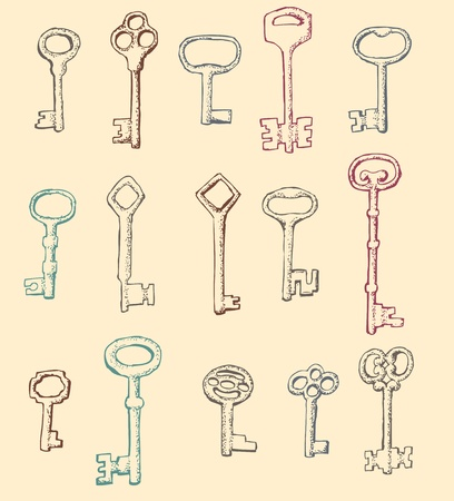 Set of drawn by hand Antique Keys Vector