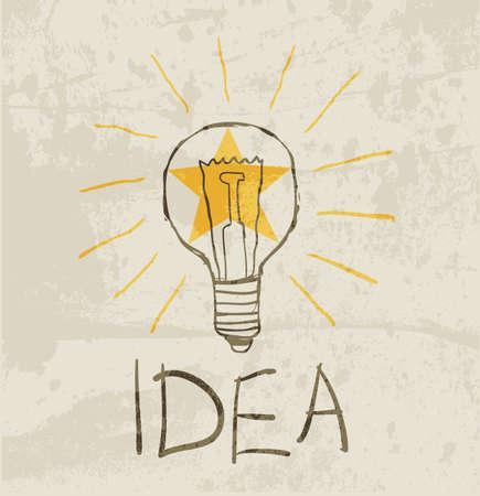 metal light bulb icon: bulb drawing. idea concept