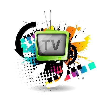표시: 귀여운 복고풍 TV 벡터 일러스트