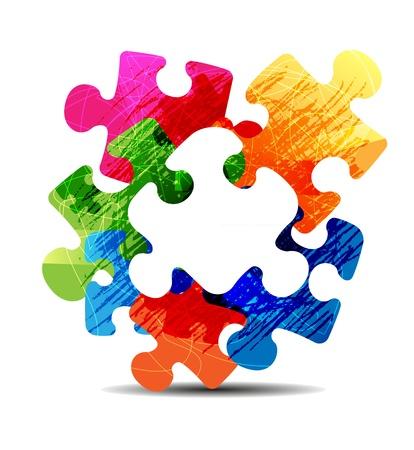 추상 퍼즐 모양 다채로운 벡터 디자인 일러스트