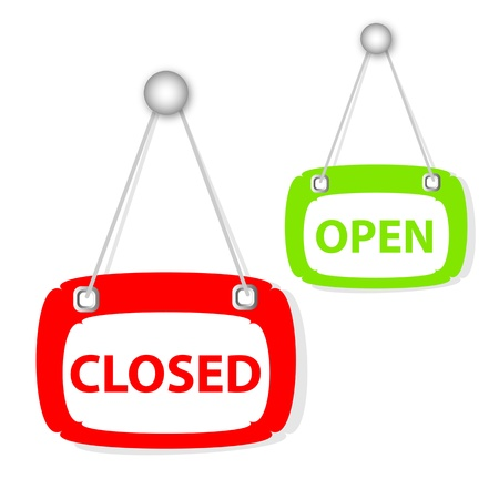 house clearance: closed & open signboard Illustration
