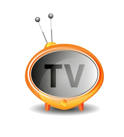 view icon: Cute retro tv vector