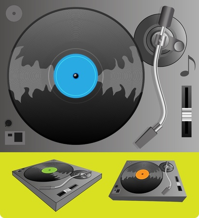 Illustration of a turntable Vector