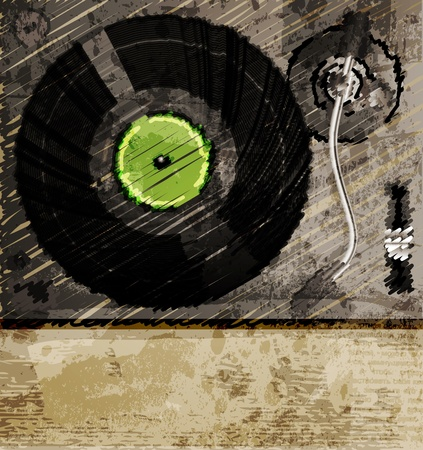 Retro music background, color sketch of turntable Illustration