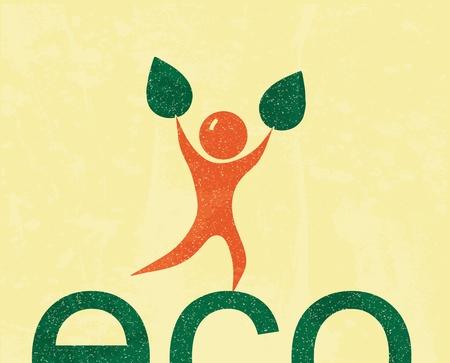 Eco man. retro poster Vector