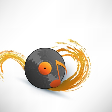 Turntable on background with wave Illustration