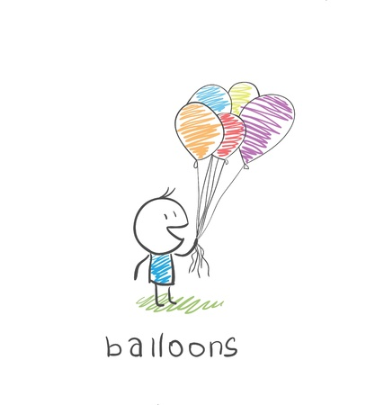 man met ballonnen Stock Illustratie