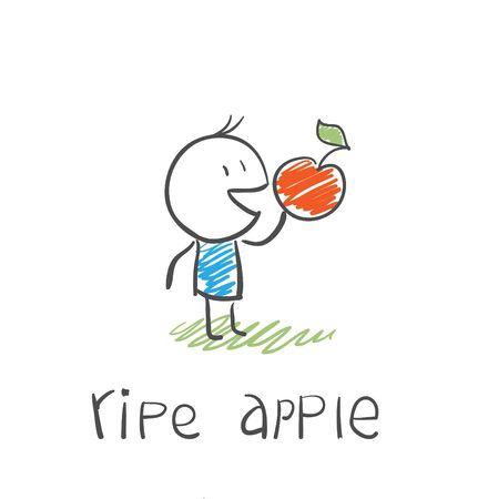 manzana caricatura: hombre con una manzana madura