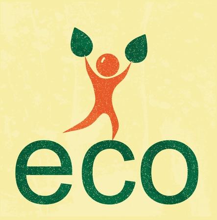 earth friendly: Eco hombre. cartel retro