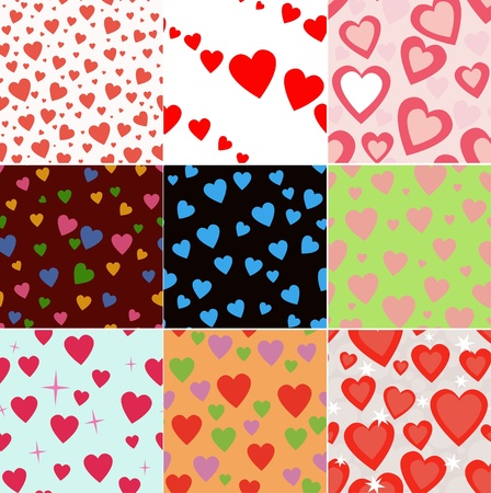 set vector seamless pattern with hearts Stock Vector - 11987112