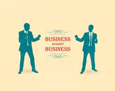 Business fight. Retro poster Vector