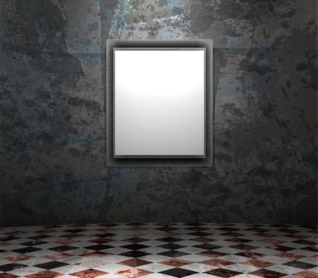 márvány: képkeret a grunge üres belső Illusztráció