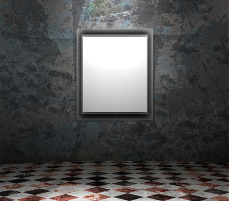 dark room: picture frame in grunge empty interior