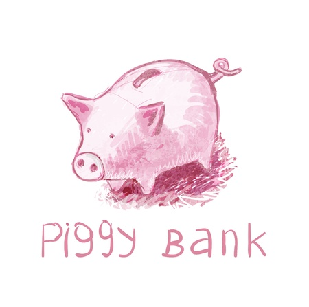 stock clip art icons: Piggy Bank. illustration. The concept. 100% drawing Illustration
