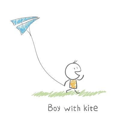 jongen met vlieger Stock Illustratie
