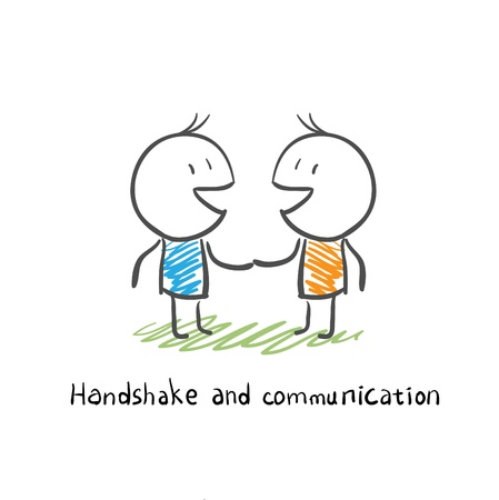 teamwork together: handshake and communication