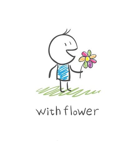 suitor: ragazzo con un fiore Vettoriali
