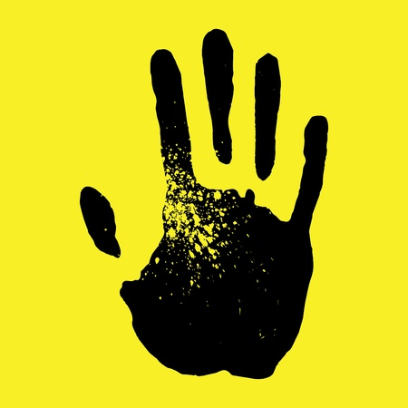 Handprint on a yellow background Stock Vector - 12065170