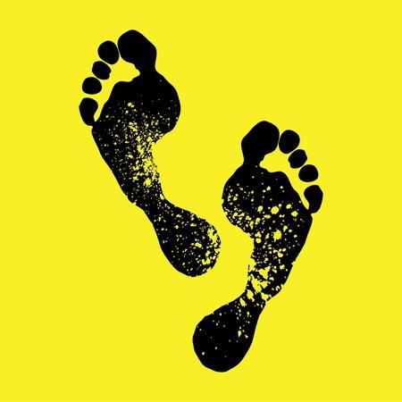 huellas pies: pies de imprimir en un fondo amarillo