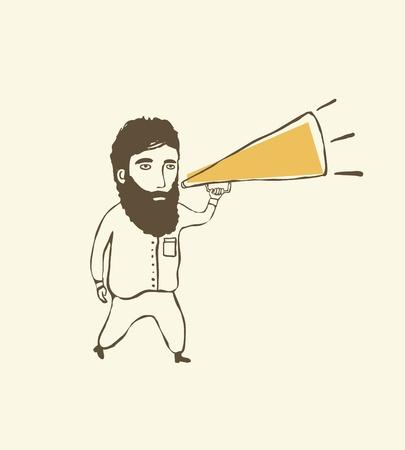 Cartoon man and megaphone Vector