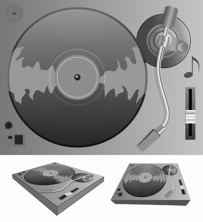 rap music: Illustration of a turntable Illustration