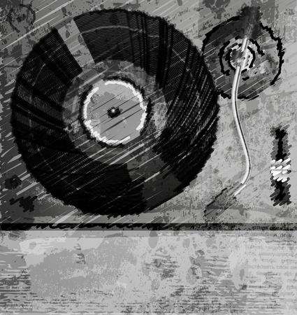 턴테이블의 레트로 음악 배경, 컬러 스케치