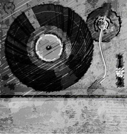 Retro music background, color sketch of turntable Vettoriali