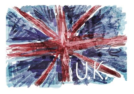 brytanii: Flaga grunge Brytyjczyków Ilustracja