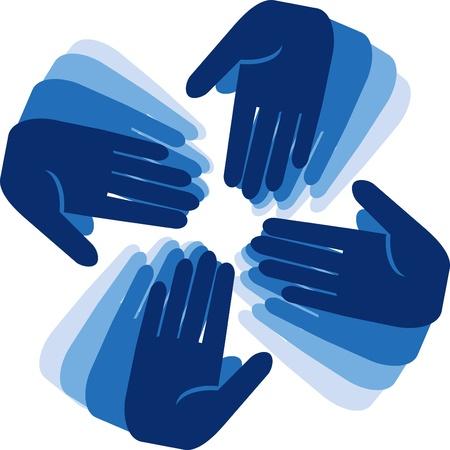 apoyo social: manos de conexión Vectores