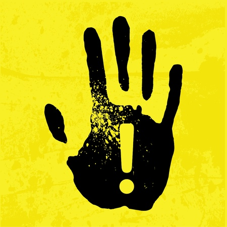 Hand print on a yellow background Stock fotó - 12065222