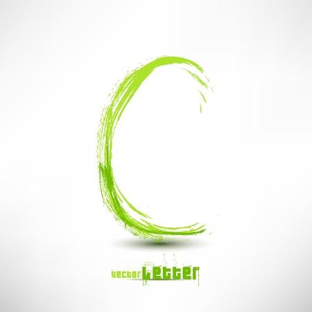 abecedario graffiti: Ilustraci�n del vector dibujado por carta de la mano. Grunge ola verde de la hierba. Vectores