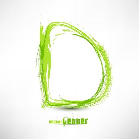 Vector illustratie met de hand getekend brief. Grunge groene gras golf. Stock Illustratie