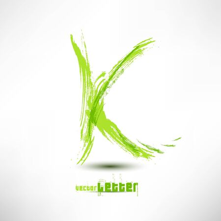 Vector illustration drawn by hand letter. Grunge green grass wave.