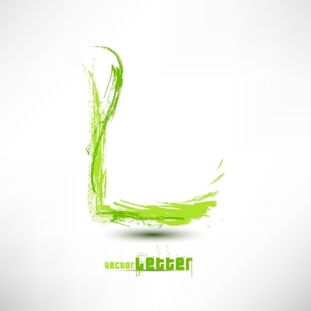 Vector illustration drawn by hand letter. Grunge green grass wave. Stock Vector - 12065271