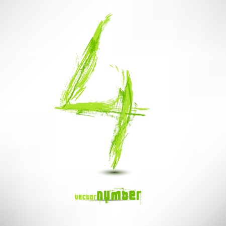 Vector illustration drawn by hand letter. Grunge green grass wave. Vector