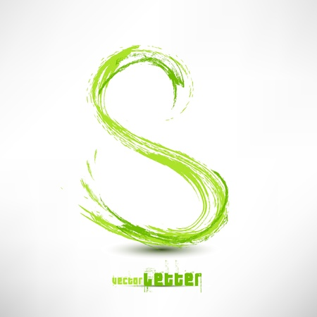 dirt: Vector illustration drawn by hand letter. Grunge green grass wave.