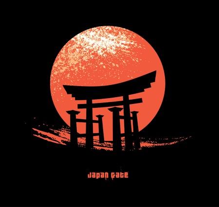 日本のゲート  イラスト・ベクター素材