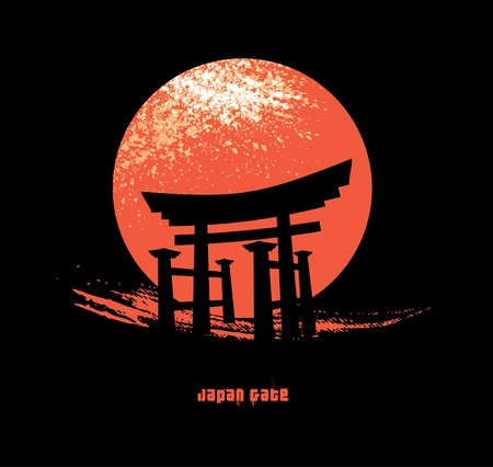 chinese temple: Japan Gate Illustration