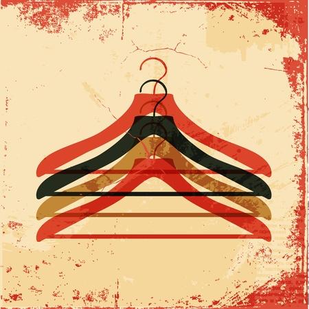 coat rack: clothes hanger retro poster