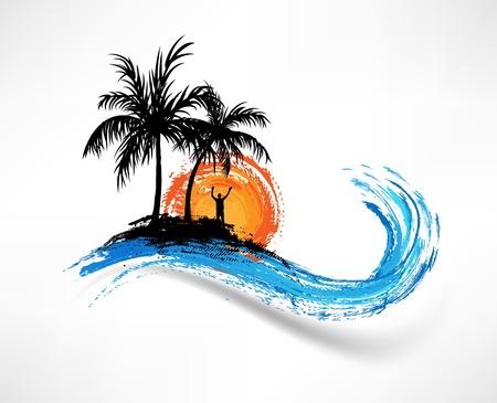 olas de mar: Las palmeras y las olas del oc�ano. El hombre en contra de la puesta de sol