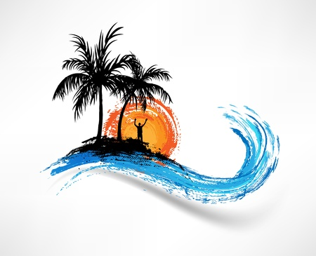 hawaii sunset: Palm trees and ocean wave. Man against the sunset Illustration