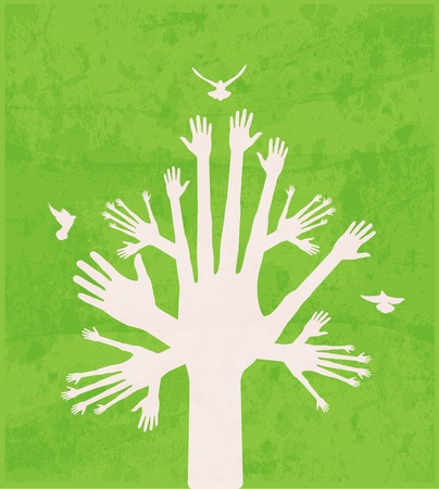 hand touch: hand tree Illustration