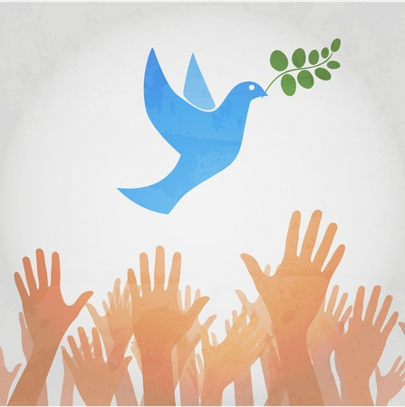 hands releasing white dove of peace. Vector