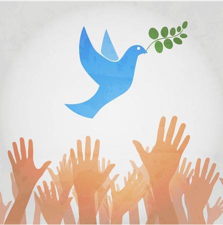 paz mundial: manos la liberaci�n de blanca paloma de la paz.