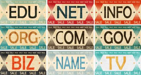 dns: Vintage Styled Domain names Label collection