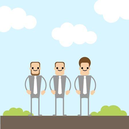 three businessman on the field Vector